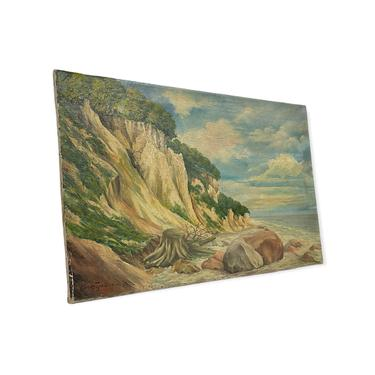 Vintage Mid Century Modern Painting Mountain Scenic Coast MCM Retro Deco Patina  Impressionist Primitive by BigWhaleConsignment