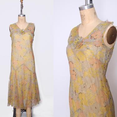 1920s silk chiffon dress / floral chiffon flapper dress / bias cut sleeveless dress / Gatsby Roaring Twenties dress  / 1920s dress by ProspectVintageGoods