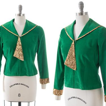 Vintage 1950s Blouse   50s Metallic Gold Sequin Kelly Green Corduroy Sailor Top (small/medium) by BirthdayLifeVintage