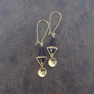 Bone earrings, batik print earrings, brass gold tribal earrings, exotic bold statement earrings, African Afrocentric earrings, boho chic 2 by Afrocasian