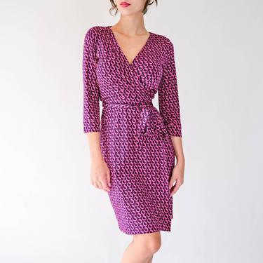Vintage Y2K Diane Von Furstenburg Black Silk Wrap Dress w/ Fuchsia Geometric Print | 100% Silk | 2000s DVF Designer Silk Wrap Dress by TheVault1969