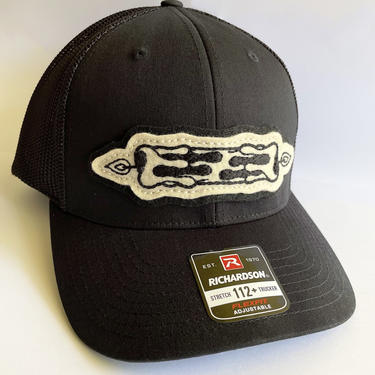Black trucker / baseball snap back hat with burning candle traditional tattoo flash hand-stitched patch - vintage style by FastDoll