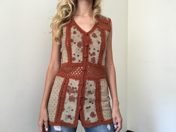 Vintage 70s Festival Knit Suede Boho Top by SpeakVintageDC