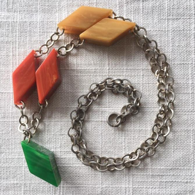Multicolor Bakelite Diamonds Necklace by nonasuch