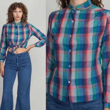 70s 80s Plaid Girly Peter Pan Collar Blouse - Small   Vintage Metallic Button Up Collared Long Sleeve Top by FlyingAppleVintage
