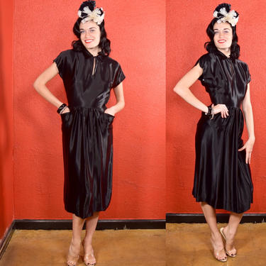 1930s 40s Black Liquid Satin Dress by THEGIRLCANTHELPITUSA