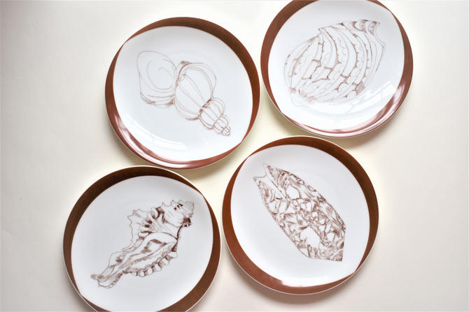 Heinrich Stix Rare Shell Collection Set of 4 Salad Plates Coastal Beach China Dinnerware | 4x Porcelain Shell Plates H & co. Stix Collection by LostandFoundHandwrks
