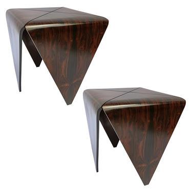 Pair of 1960s Brazilian Jacaranda Petalas Side Tables by Jorge Zalszupin
