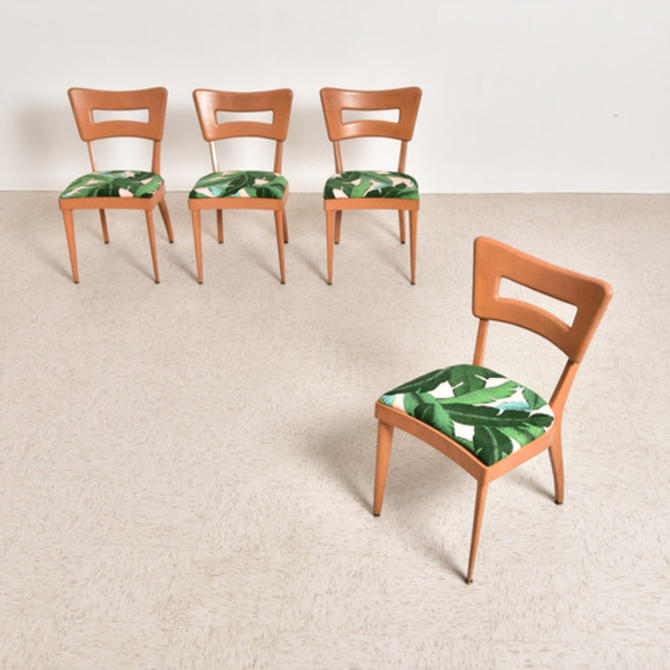 Vintage Heywood Wakefield Chairs with Banana Palm Leaf Upholstery