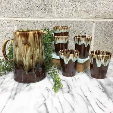 Vintage Pitcher and Cups Retro 1970s Handmade + Drip Glaze Pottery + Set of 5 Cups + Brown + Tan + Baby Blue + Serving ware + Kitchen Decor by RetrospectVintage215
