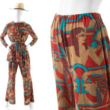 Vintage 1970s Pant Suit   70s Egyptian Novelty Print Jersey Knit Printed Long Sleeve Blouse Matching Wide Leg High Waisted Pants Set (small) by BirthdayLifeVintage