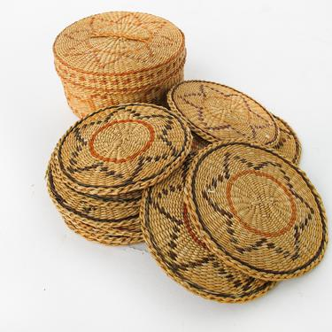 Set of 12 Vintage Woven Coasters in Woven Round Basket by PortlandRevibe