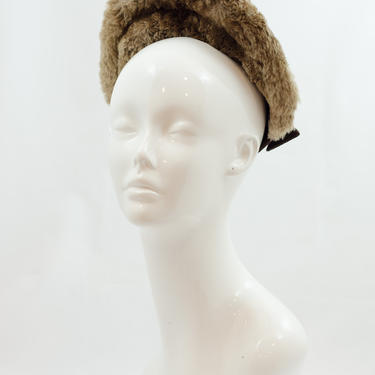 SALE PRICE 1940s Vintage Hat - Late 1930s/Early 1940s Brown Felt Halo Picture Topper with Stand Up Fur Brim and Two Matching Hat Pins by DomesticatedPinup