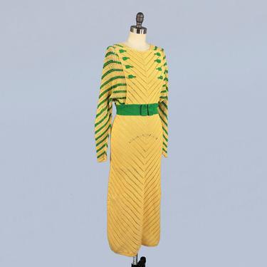 1930s Dress/ 30s Crochet Dress / Cotton Crochet / Dolman Sleeve / Striped Chevron Knit / Deco 1935 by GuermantesVintage