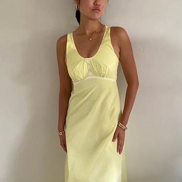 70s halter maxi dress / vintage daisy yellow organza Swiss dot halter cocktail hostess wedding guest maxi backless dress   XS size 2 by RecapVintageStudio