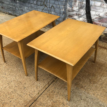 Pair Vintage mid century heywood Wakefield  blonde maple nightstands end side tables curved legs plant stands lower shelf by symmetrymodern