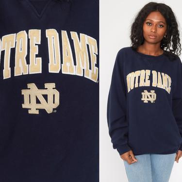 Notre Dame Sweatshirt 90s FIGHTING IRISH Football University Sweatshirt College Graphic Sweater Vintage Raglan Navy Blue Medium Large by ShopExile