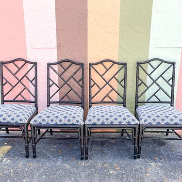 Set of Four Faux Bamboo Chippendale Chairs