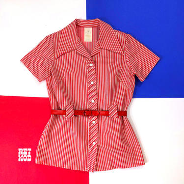 Mod Vintage 60s 70s Red Stripe Short Sleeve Tunic Top with Matching Belt by RETMOD