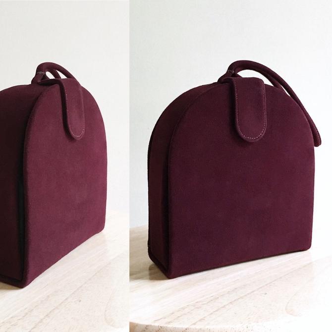 1950s Burgundy Suede Box Purse Mam'selle Original by hemlockvintage