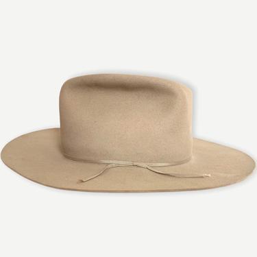 Vintage 1940s/1950s RESISTOL Cowboy Hat ~ size 7 1/8 ~ Western Fedora ~ Wide Brim ~ Silverbelly ~ Raw Hide / Beaver Fur Felt by SparrowsAndWolves