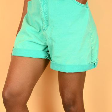 Vintage Teal Green High Rise Denim Shorts by MAWSUPPLY