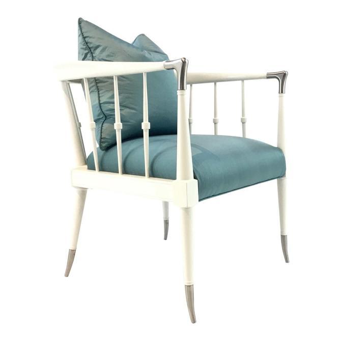 Modern Caracole Blue Silk Finesse Chair