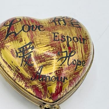 Love in Many Languages LIMOGES France Hand Painted Trinket Box Peint Main Limoges Import by JoAnntiques
