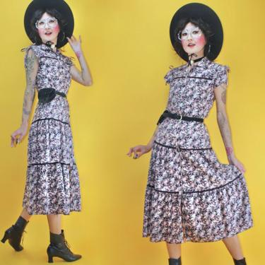 Vintage 1970s 70s Foxy Lady Split Cape Sleeve Flower Garden Prairie Dress/SZ S/ Boho Glam Folk Cottagecore Country Western Mid Calf Skirt by TheeAppleBoutique