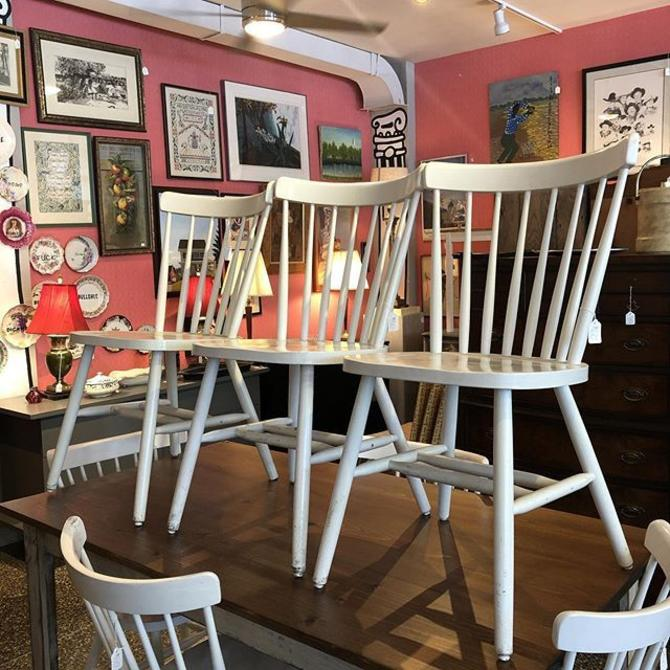 Fabulous white wood dining chairs! $50 each! 50 available!!!