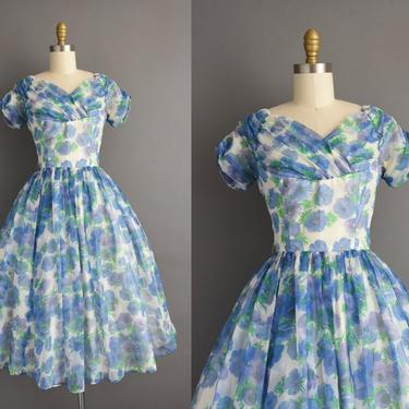1950s vintage dress | Gorgeous Blue Floral Print Chiffon Sweeping Full Skirt Cocktail Party Dress | Small | 50s dress by simplicityisbliss