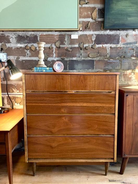 Refinished Mid-Century Tallboy Dresser