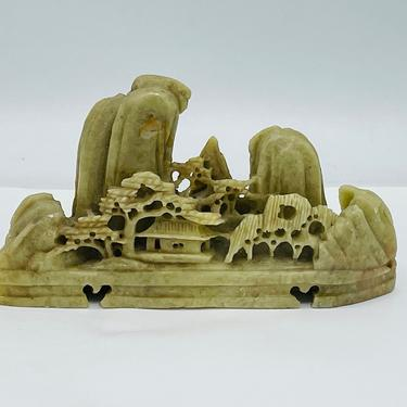 """Antique Chinese Carved Soapstone Mountain Asian Village Trees 5"""" X 2 3/4"""" by JoAnntiques"""