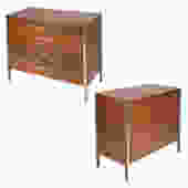 Paul McCobb Pair of Bedside Chests In Walnut and Aluminum 1960s