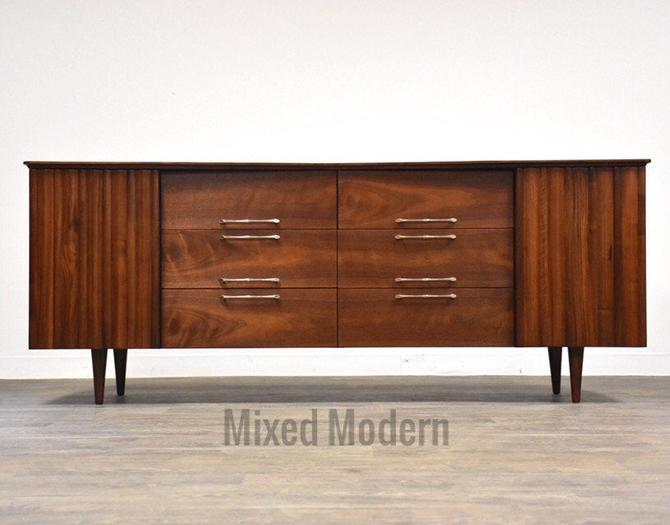 Walnut Mid Century Dresser Credenza by mixedmodern1