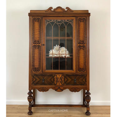 Antique China Cabinet, Jacobean, Beautiful Natural Wood Finish, Center Window, Enclosed Storage, Vintage Furniture, Dining Room, Linens by CaptivaHomeDecor