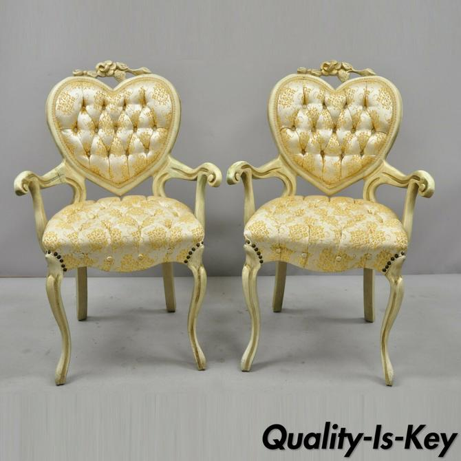 Pair of Vintage Victorian Heart Back French Provincial Cream Painted Arm Chairs