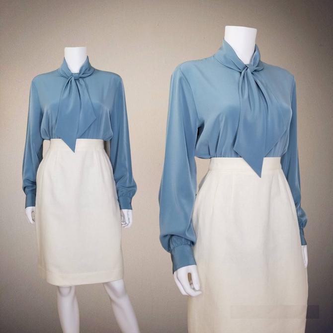 Vintage Pussy Bow Blouse, Medium Large / St John Cocktail Blouse / Silky Designer Button Blouse / 1970s Dress Blouse / Retro Office Blouse by SoughtClothier