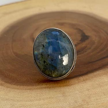 I'M STONED Chimney Butte Large Labradorite & Silver Ring | Native American Navajo Southwestern Boho Statement Jewelry | Size 5 by lovestreetsf