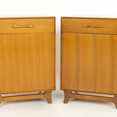 Rway Mid Century Walnut and Brass Nightstands - A Pair - mcm by ModernHill