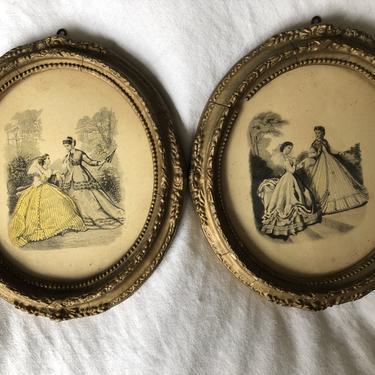 Vintage MCM Oval Framed prints