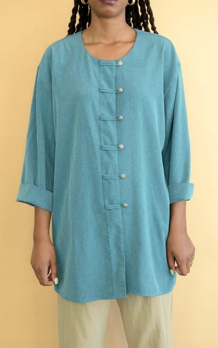 Vintage Blue Teal Long Sleeve Oversize Shirt Blouse Dress by MAWSUPPLY
