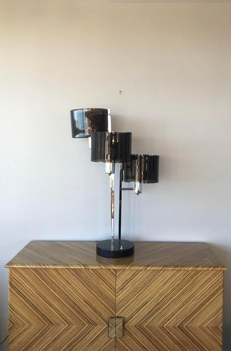 Mid Century Modern Chrome and Lucite three arms table lamp by UrbanInteriorsBalt
