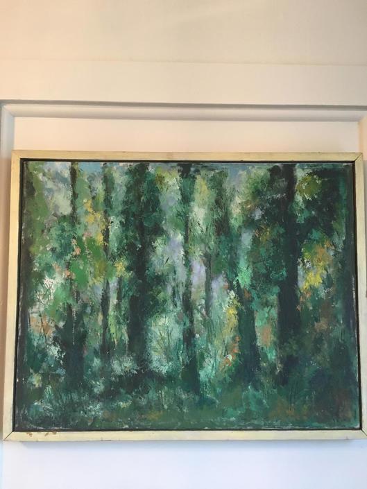 Abstract Landscape - Oil on Canvas - Trees Forest Woods - Original Vintage Art by PursuingVintage1