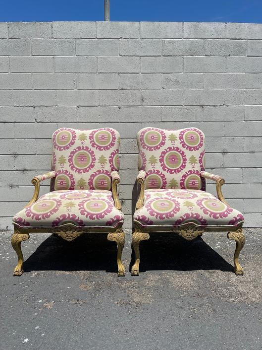 Pair of Chairs French Armchairs Bergere French Provincial Neoclassical Wood Shabby Chic Hollywood Regency Seating Carved Wood Vintage by DejaVuDecors