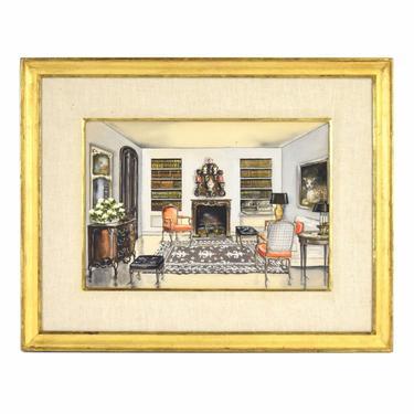 Vintage Architectural Interior Painting Elegant Living Room Classic Furniture by PrairielandArt
