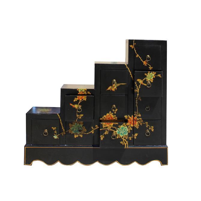 Oriental Black Color Vinyl Flower Birds Step Tansu Cabinet cs5776S