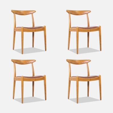 Hans J. Wegner W2 Oak & Leather Dining Chairs for C.M. Madsen