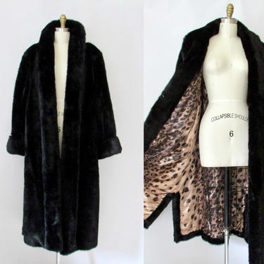 GO GLAM Dennis Basso Vintage 90s Faux Fur Coat | 1990s Black Winter Overcoat with Leopard Print Satin Lining | 2000s Outerwear, Size X Large by lovestreetsf