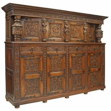 Antique Sideboard, Renaissance Revival Carved Oak Cupboard, Late 1800's!!
